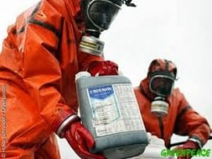 pesticide workers in protective suits